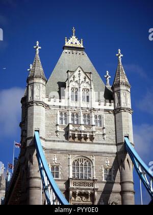 View looking up at Tower Bridge - Stock Image