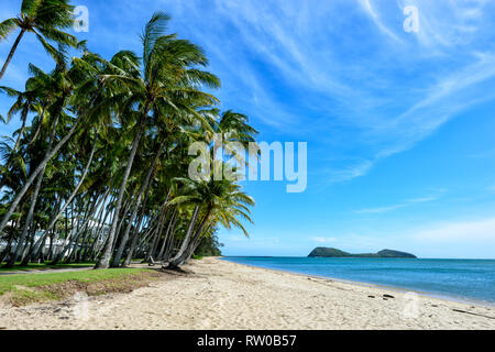 View of the beach at Palm Cove with Double Island in the background, Cairns Northern Beaches, Far North Queensland, QLD, FNQ, Australia - Stock Image