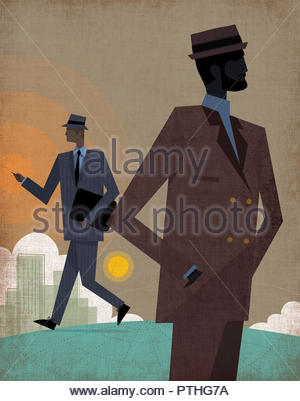 Cool city businessmen on globe - Stock Image