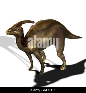 The Parasaurolophus seemed a beside to Saurolophus and in the Cretaceous period. The size amounted to approx. 10m. - Stock Image