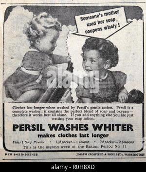 Persil washing powder advert wiith children girls in Daily Express newspaper 1940s London England UK - Stock Image