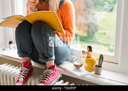 Young female college student studying in window - Stock Image