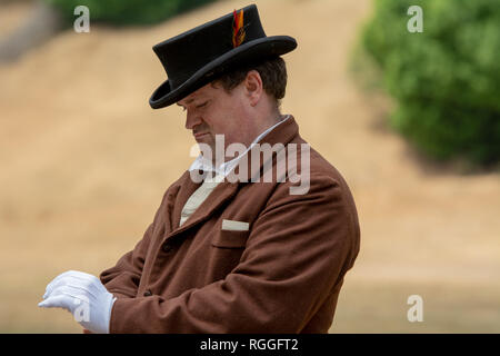 Duncan Mills, CA - July 14, 2018: Gentleman dressed in costume for a civil war reenactement. The Civil War Days is one of the largest reenactment even - Stock Image