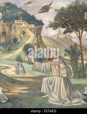 Stigmata of St Francis, detail, Frescoes on the Life of St Francis, by Domenico Ghirlandaio, 1483-1485, Capella Sassetti, Sassetti Chapel, Chiesa di S - Stock Image