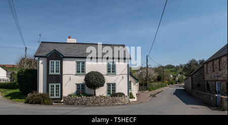 Streets and property in the village town of Colyton, Devon. UK - Stock Image