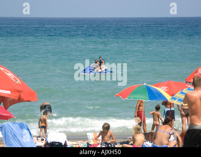 Summer Fun on the Beach, Fuengirola, Costa del Sol, Spain, Europe, - Stock Image