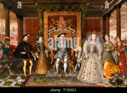 An Allegory of the Tudor Succession, The Family of Henry VIII, c.1590 - Stock Image