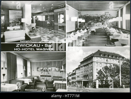 GERMANY - CIRCA 1967: A postcard printed in Germany, shows the Hotel Wagner, Zwickau, circa 1967 - Stock Image
