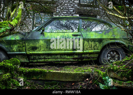 An abandoned Ford Capri with green moss and algae growth. - Stock Image