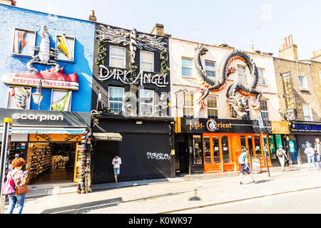Camden Town London, London's Camden Town, Camden Town shops, Camden Town high street, Camden Town art above shops, Camdem Town art - Stock Image