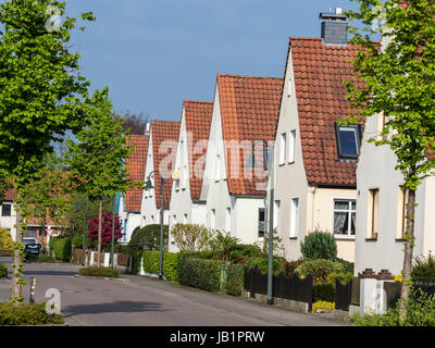 Row of single houses, one house for sale, Celle, Germany - Stock Image