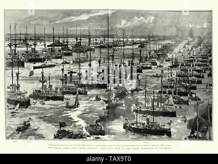 Great coronation naval display at Spithead, for King Edward VII, 1902 - Stock Image
