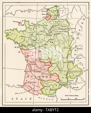 Map of France at the Treaty of Bretigny during the 100 Years War, 1360. Color lithograph - Stock Image