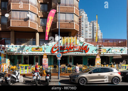 Benidorm, Costa Blanca, Spain, 25th February 2019. Two staff members at the Beachcomber pub in Benidorm New Town on the British square. Two British tourists have been arrested in relation to the alleged attack. Seen here is the Hotel California which is not connected to the reported incident. Credit: Mick Flynn/Alamy Live News - Stock Image