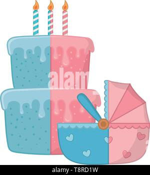 cradle decorated with heart and birthday cake with candles lit vector illustration graphic design - Stock Image