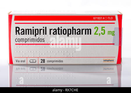 A box of Ramipril tablets from the Ratiopharm company isolated on white. Photo taken in Madrid, Spain, on March 8, 2019. - Stock Image