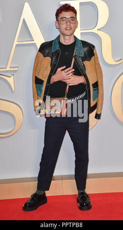 London, UK. 27th September 2018. Olly Alexander attend A Star Is Born UK Premiere at Vue Cinemas, Leicester Square, London, UK 27 September 2018. Credit: Picture Capital/Alamy Live News - Stock Image