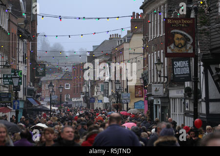 Rochester, Kent, UK. 1st December 2018: Some of the hundreds of people attended the Dickensian Festival in Rochester High Street on 1 December 2018. The festival's main parade has participants in Victorian period costume from the Dickensian age. The town and area was the setting of many of Charles Dickens novels and is the setting to two annual festivals in his honor. Photos: David Mbiyu/ Alamy Live News - Stock Image