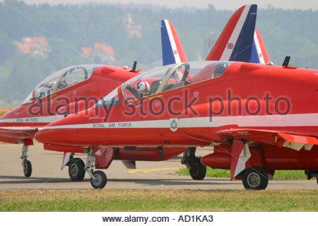 Zeltweg 2005 Airpower 05 airshow Austria, Red Arrows Hawk team - Stock Image
