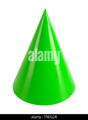 Green Birthday Party Hat Cut Out on White. - Stock Image