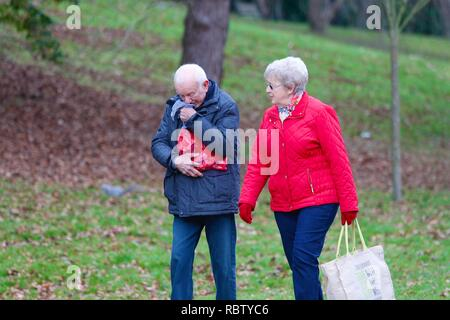 Hastings, East Sussex, UK. 12 Jan, 2019. UK Weather: Winter weather with a slight breeze in the air that is expected to last throughout the day as a few people take a morning stroll around Alexandra park in the heart of Hastings in East Sussex. A man sneezes into a hanky as his partner watches. © Paul Lawrenson 2018, Photo Credit: Paul Lawrenson / Alamy Live News - Stock Image