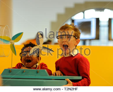 Edinburgh, UK. 3rd April, 2019.  Edinburgh, UK. 3rd April, 2019.  Omar and Colin from Royal Mile Primary School try out exhibits at ÒEnergy Makers Ò a new workshop at the City Art Centre (CAC) presented by the FestivalÕs headline sponsors, EDF Energy. Credit: Roger Gaisford/Alamy Live News - Stock Image