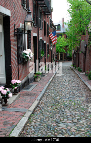 Acorn Street Beacon Hill Boston Massachusetts - Stock Image
