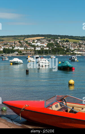 Moored Boats on The River Teign Estuary viewed from shore at Shaldon towards Teignmouth, South Devon, England, UK - Stock Image