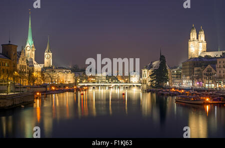 A panorama of Zurich on a winter night - Stock Image