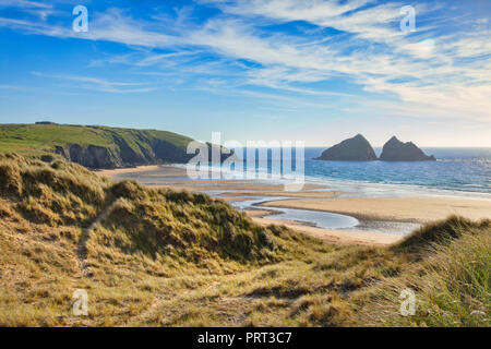 Holywell Beach, Cornwall, UK, from the South West Coast Path. - Stock Image