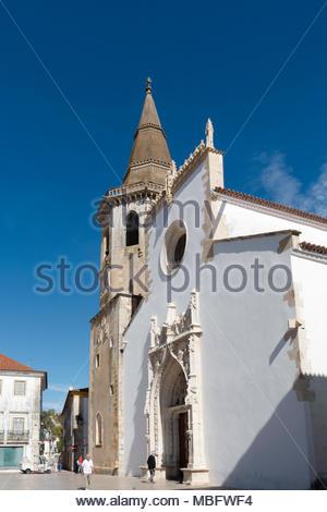 Igreja de São João Baptista located in the Praca da Republica Tomar Central Portugal - Stock Image