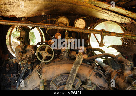 Steam locomotive cab controls of State Saw Mills steam engine SSM No. 2, slowly rusting away in a rail museum in Pemberton, Western Austra - Stock Image