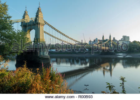 Hammersmith Bridge in Hammersmith, London - Stock Image
