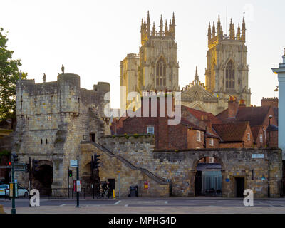 View from the Art Gallery in Exhibition Square York towards Bootham Bar and the Minster in early morning light - Stock Image