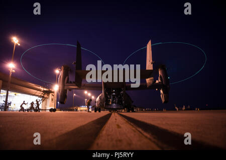 Air Commandos with the 801st Special Operations Maintenance Squadron inspect a CV-22 Osprey tiltrotor aircraft, Aug. 24, 2018, at Hurlburt Field, Florida. Multiple aircraft assigned to the 1st Special Operations Wing took off from Hurlburt Field to perform a flyover at the Air Force Memorial in honor of U.S. Air Force Tech. Sgt. John Chapman, who was posthumously awarded the Medal of Honor for extraordinary heroism. (U.S. Air Force photo by Staff Sgt. Ryan Conroy) - Stock Image