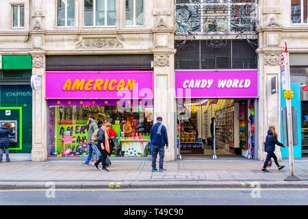 American Candy World in Oxford Street sells American sweets not usually easily available in the UK. - Stock Image