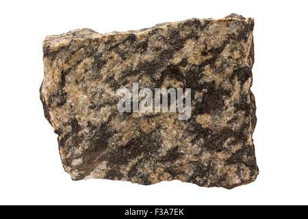 Monzonite rock sample - Stock Image