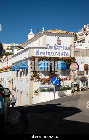 The Dom Carlos Restaurant Exterior Building Albufeira Portugal - Stock Image