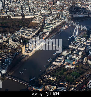 Aerial shot of the Thames around Westminster - Stock Image