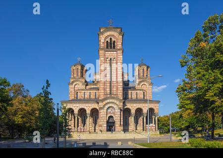 Serbia, Belgrade, Tasmajdan Park, St Mark's Church - Stock Image
