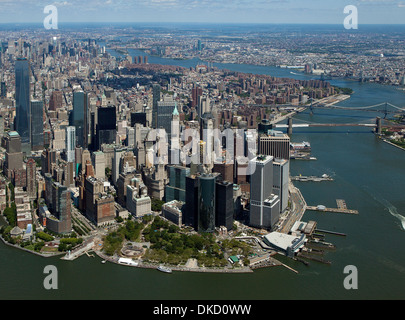 aerial photograph Battery Park, Lower Manhattan, New York City - Stock Image