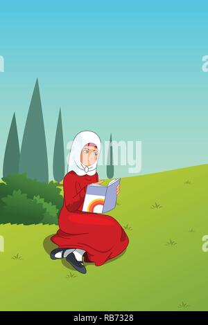 A vector illustration of Muslim Girl Reading a Book Outdoor - Stock Image