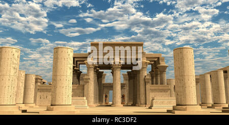 Temple of Ancient Pharaohs - A temple from the the Egyptian Old Kingdom full of statues of ancient gods and hieroglyphs on columns. - Stock Image