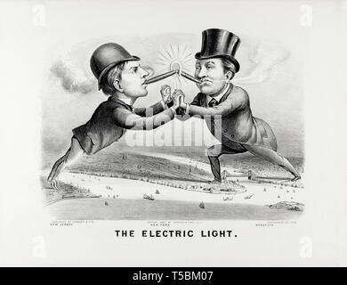 The Electric Light, cartoon, Thomas Edison, Charles F. Brush, caricatures, Currier & Ives, 1880 - Stock Image