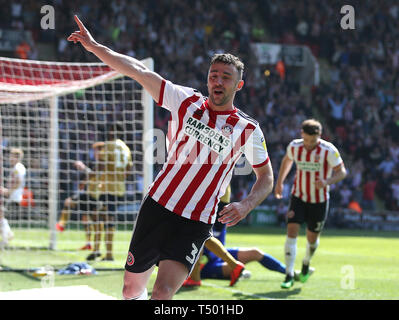 Sheffield United's Enda Stevens celebrates scoring his side's second goal of the game during the Sky Bet Championship match at Bramall Lane, Sheffield. - Stock Image