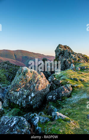 The Lion and the Lamb on the summit of Helm Crag, Grasmere, Lake District, Cumbria - Stock Image