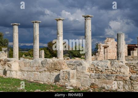 Columns of the Apollo Temple, excavation site, Kourion, Cyprus - Stock Image