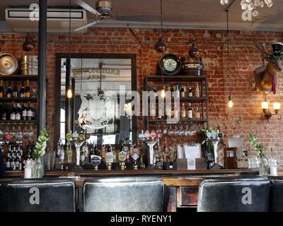 Bar area of the Devonshire Arms, Kensington, London UK - Stock Image