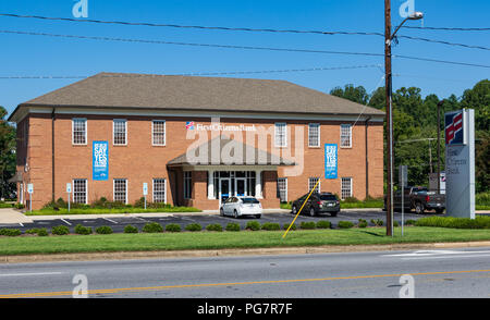 LENOIR, NC, USA-23 AUG 2018: A First Citizens Bank, operating 200 branches  in 18 states and Washington, D.C. - Stock Image