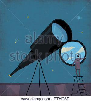 Businessman changing telescope lens to sunny blue sky at night - Stock Image